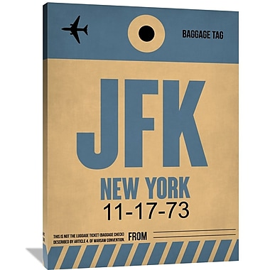 Naxart 'JFK New York Luggage Tag 2' Graphic Art on Wrapped Canvas; 48'' H x 36'' W x 1.5'' D