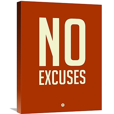 Naxart 'No Excuses 2' Textual Art on Wrapped Canvas; 24'' H x 18'' W x 1.5'' D