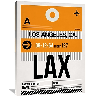 Naxart 'LAX Los Angeles Luggage Tag 2' Graphic Art on Wrapped Canvas; 40'' H x 30'' W x 1.5'' D