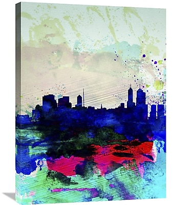 Naxart 'Melbourne Watercolor Skyline 2' Graphic Art on Wrapped Canvas; 32'' H x 24'' W x 1.5'' D