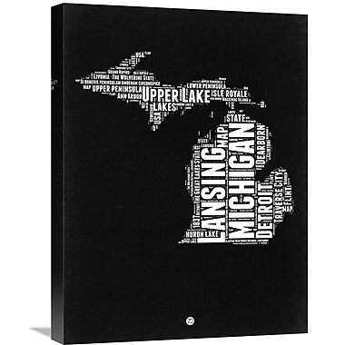 Naxart 'Michigan Map' Textual Art on Wrapped Canvas; 24'' H x 18'' W x 1.5'' D