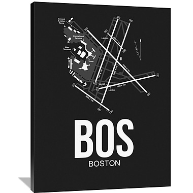 Naxart 'BOS Boston Airport' Graphic Art on Wrapped Canvas; 48'' H x 36'' W x 1.5'' D