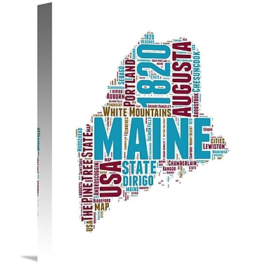 Naxart 'Maine Word Cloud Map' Textual Art on Wrapped Canvas; 16'' H x 12'' W x 1.5'' D