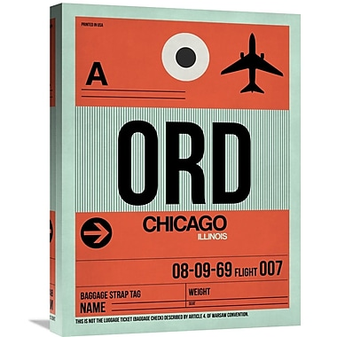 Naxart 'ORD Chicago Luggage Tag 2' Graphic Art on Wrapped Canvas; 24'' H x 18'' W x 1.5'' D