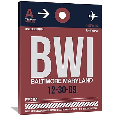 Naxart 'BWI Baltimore Luggage Tag 2' Graphic Art on Wrapped Canvas; 40'' H x 30'' W x 1.5'' D