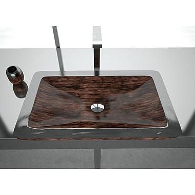 MaestroBath Vogue Rectangular Vessel Bathroom Sink; Brown Black
