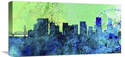 Naxart 'Portland City Skyline' Graphic Art on Wrapped Canvas; 12'' H x 24'' W x 1.5'' D