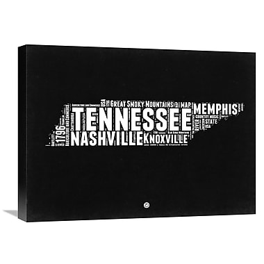 Naxart 'Tennessee Black and White Map' Textual Art on Wrapped Canvas; 18'' H x 24'' W x 1.5'' D