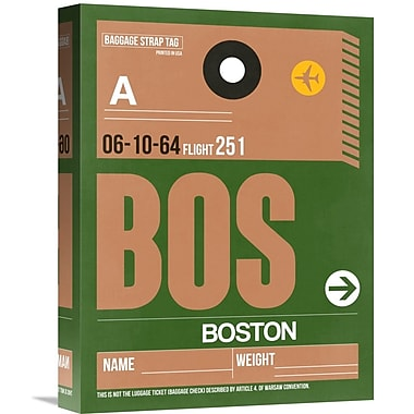 Naxart 'BOS Boston Luggage Tag 1' Graphic Art on Wrapped Canvas; 16'' H x 12'' W x 1.5'' D