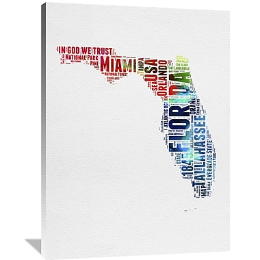 Naxart 'Florida Watercolor Word Cloud' Textual Art on Wrapped Canvas; 48'' H x 36'' W x 1.5'' D