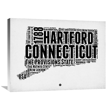 Naxart 'Connecticut Word Cloud 2' Textual Art on Wrapped Canvas; 24'' H x 32'' W x 1.5'' D