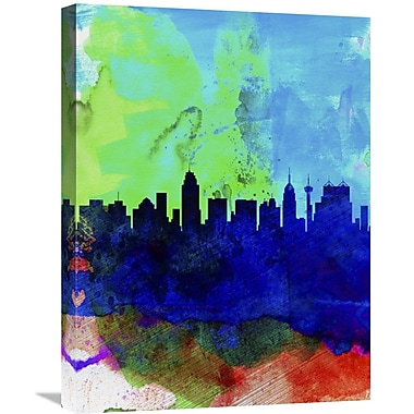 Naxart 'San Antonio Watercolor Skyline' Painting Print on Wrapped Canvas; 24'' H x 18'' W x 1.5'' D