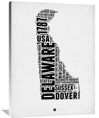 Naxart 'Delaware Word Cloud 2' Textual Art on Wrapped Canvas; 40'' H x 30'' W x 1.5'' D