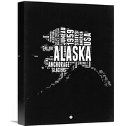 Naxart 'Alaska Map' Textual Art on Wrapped Canvas; 16'' H x 12'' W x 1.5'' D