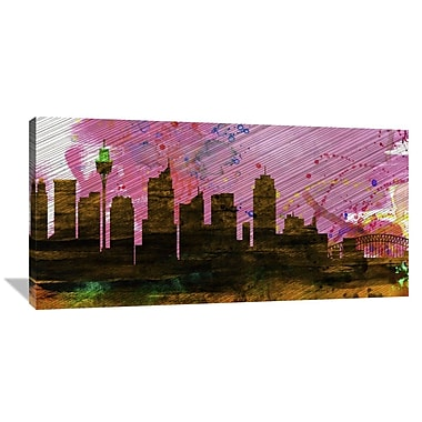 Naxart 'Sydney City Skyline' Graphic Art on Wrapped Canvas; 24'' H x 48'' W x 1.5'' D