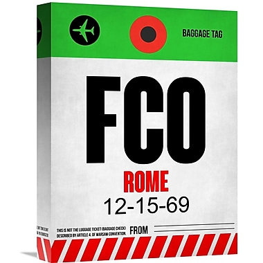 Naxart 'FCO Rome Luggage Tag 1' Graphic Art on Wrapped Canvas; 16'' H x 12'' W x 1.5'' D