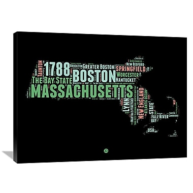 Naxart 'Massachusetts Word Cloud 1' Textual Art on Wrapped Canvas; 30'' H x 40'' W x 1.5'' D