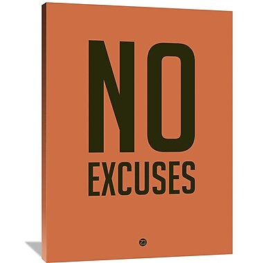 Naxart 'No Excuses 3' Textual Art on Wrapped Canvas; 48'' H x 36'' W x 1.5'' D