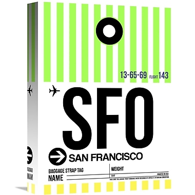 Naxart 'SFO San Francisco Luggage Tag 3' Graphic Art on Wrapped Canvas; 16'' H x 12'' W x 1.5'' D