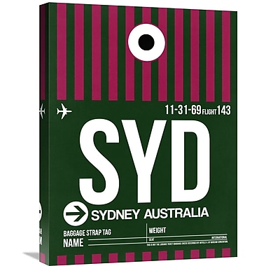 Naxart 'SYD Sydney Luggage Tag 2' Graphic Art on Wrapped Canvas; 32'' H x 24'' W x 1.5'' D