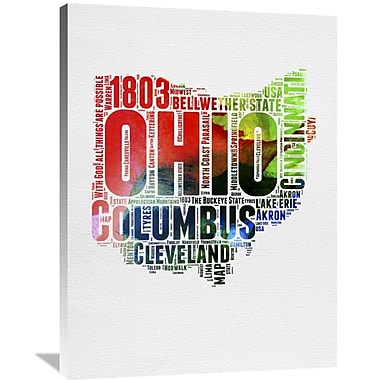 Naxart 'Ohio Watercolor Word Cloud' Textual Art on Wrapped Canvas; 40'' H x 30'' W x 1.5'' D