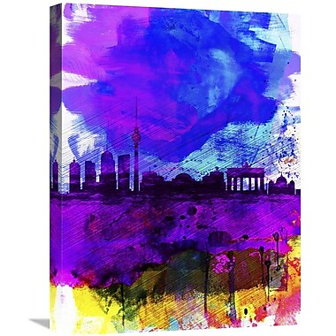 Naxart 'Berlin Watercolor' Skyline Graphic Art on Wrapped Canvas; 24'' H x 18'' W x 1.5'' D