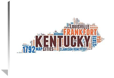 Naxart 'Kentucky Word Cloud Map' Textual Art on Wrapped Canvas; 36'' H x 48'' W x 1.5'' D