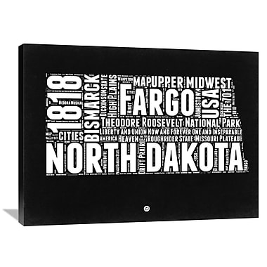 Naxart 'North Dakota Black and White Map' Textual Art on Wrapped Canvas; 30'' H x 40'' W x 1.5'' D