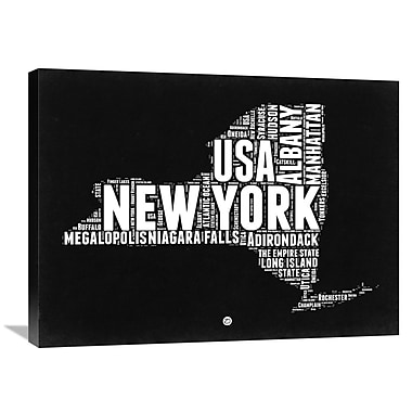 Naxart 'New York Black and White Map' Textual Art on Wrapped Canvas; 24'' H x 32'' W x 1.5'' D