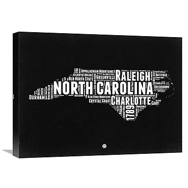 Naxart 'North Carolina Map' Textual Art on Wrapped Canvas; 18'' H x 24'' W x 1.5'' D