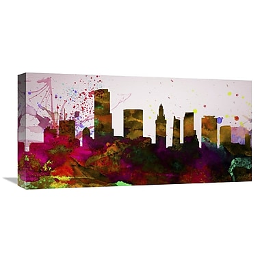 Naxart 'Miami City Skyline' Textual Art on Wrapped Canvas; 12'' H x 24'' W x 1.5'' D