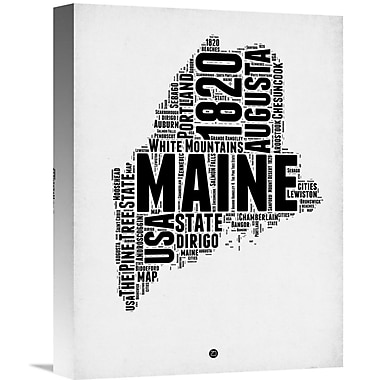 Naxart 'Maine Word Cloud 2' Textual Art on Wrapped Canvas; 16'' H x 12'' W x 1.5'' D