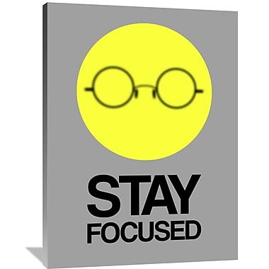 Naxart 'Stay Focused Circle Poster 2' Graphic Art on Wrapped Canvas in Yellow