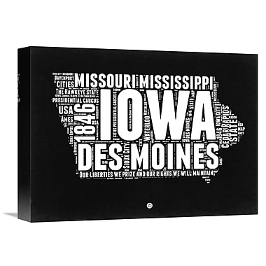 Naxart 'Iowa Black and White Map' Textual Art on Wrapped Canvas; 12'' H x 16'' W x 1.5'' D