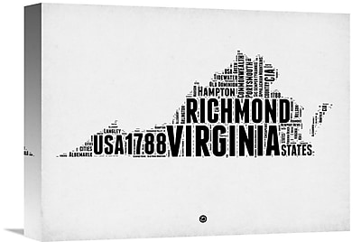 Naxart 'Virginia Word Cloud 2' Textual Art on Wrapped Canvas; 12'' H x 16'' W x 1.5'' D