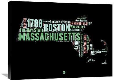 Naxart 'Massachusetts Word Cloud 1' Textual Art on Wrapped Canvas; 24'' H x 32'' W x 1.5'' D