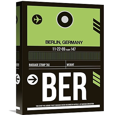 Naxart 'BER Berlin Luggage Tag 2' Graphic Art on Wrapped Canvas; 16'' H x 12'' W x 1.5'' D