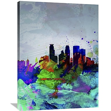 Naxart 'Minneapolis Watercolor Skyline' Graphic Art on Wrapped Canvas; 40'' H x 30'' W x 1.5'' D