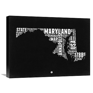 Naxart 'Maryland Map' Textual Art on Wrapped Canvas; 18'' H x 24'' W x 1.5'' D
