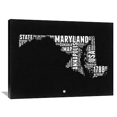 Naxart 'Maryland Map' Textual Art on Wrapped Canvas; 30'' H x 40'' W x 1.5'' D