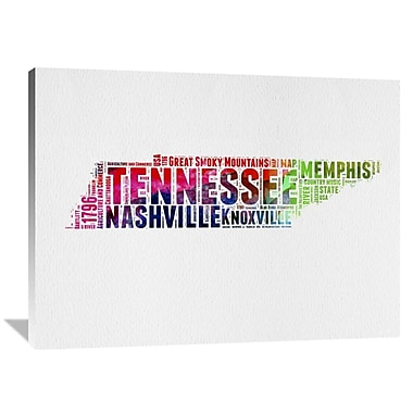 Naxart 'Tennessee Watercolor Word Cloud' Textual Art on Wrapped Canvas; 36'' H x 48'' W x 1.5'' D