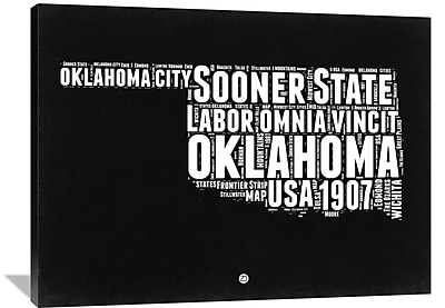 Naxart 'Oklahoma Map' Textual Art on Wrapped Canvas; 36'' H x 48'' W x 1.5'' D