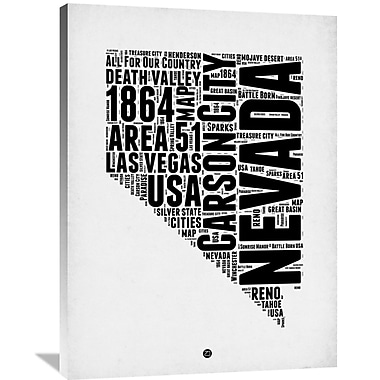Naxart 'Nevada Word Cloud 2' Textual Art on Wrapped Canvas; 40'' H x 30'' W x 1.5'' D