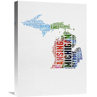 Naxart 'Michigan Watercolor Word Cloud' Textual Art on Wrapped Canvas; 24'' H x 18'' W x 1.5'' D