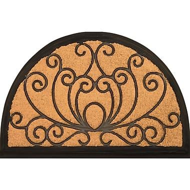 Envelor Home Half Round Blooming Lotus Coir (Coco) Rubber Door Mat