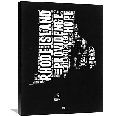 Naxart 'Rhode Island Black and White Map' Textual Art on Wrapped Canvas; 32'' H x 24'' W x 1.5'' D