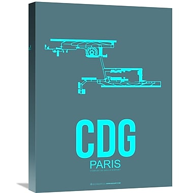 Naxart 'CDG Paris Poster 1' Graphic Art on Wrapped Canvas; 24'' H x 18'' W x 1.5'' D