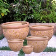 International Caravan 5-Piece Ceramic Pot Planter Set