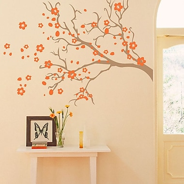 SissyLittle Watsonia Branch Wall Decal; Light Brown / Orange