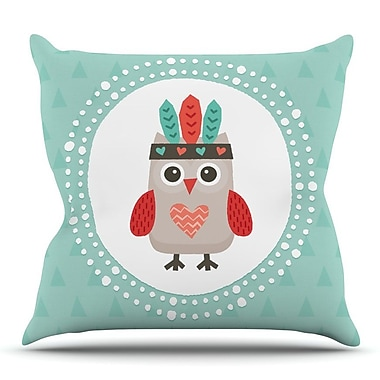 KESS InHouse Hipster Owlet Mint Coral by Daisy Beatrice Throw Pillow; 18'' H x 18'' W x 3'' D